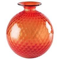 Balloton Monofiore, Vaso Rosso Foglia Oro 24,5cm