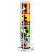 Mickey I Am, Set 4 Tazze Mug Impilabili con Rack