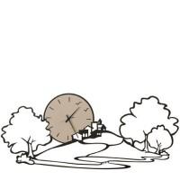 Paesaggio, Orologio Parete Nero 98cm